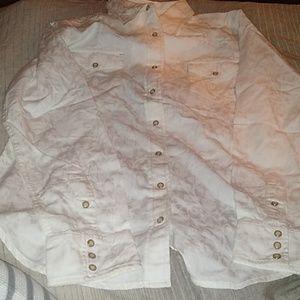 Ryan Michael button down cotton shirt white medium